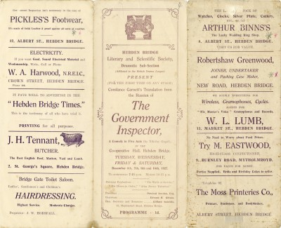 The Government Inspector programme, 1927. The fourth play produced by the Literary and Scientific Dramatic Sub-Section (later becoming the Little Theatre), at the Co-operative Hall, Carlton Street.