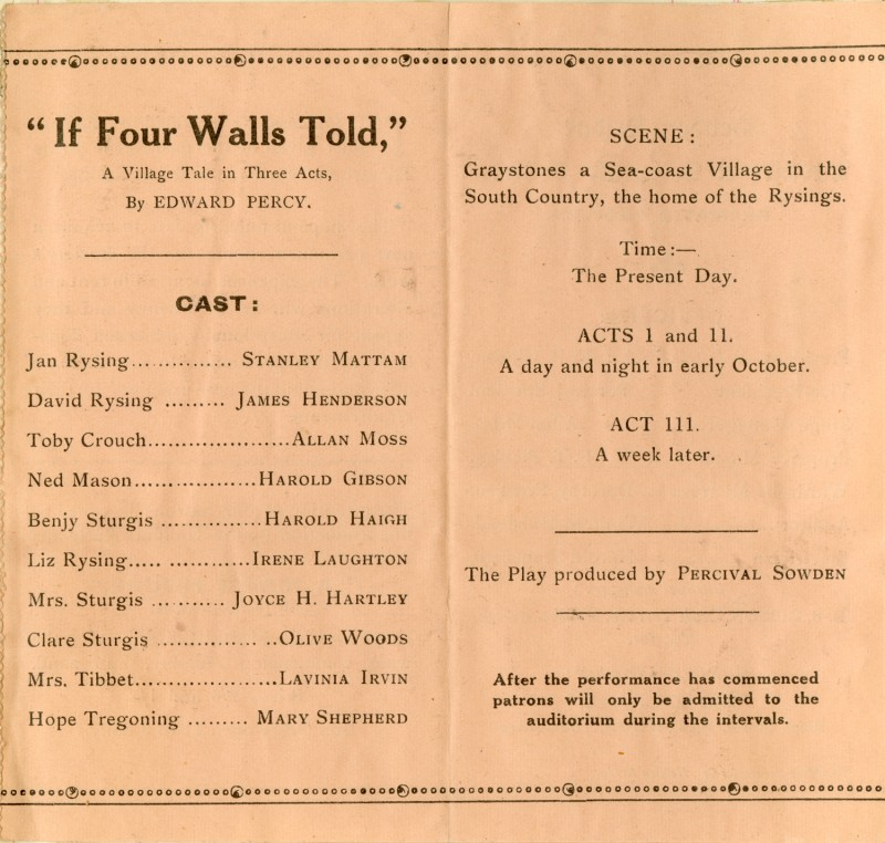 If Four Walls Told programme, 1937