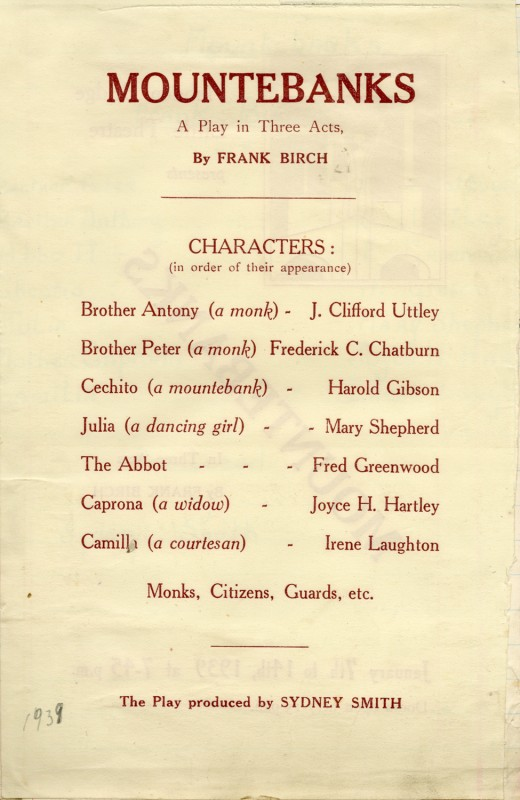 Mountebanks, by Frank Birch, directed by Sydney Smith, February 1939