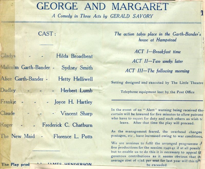 George and Margaret, by Gerald Savory, directed by James Henderson, 1940. George and Margaret programme (fragment)