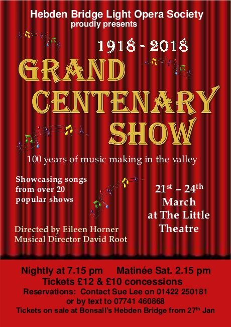 Hebden Bridge Light Opera Centenary Concert poster