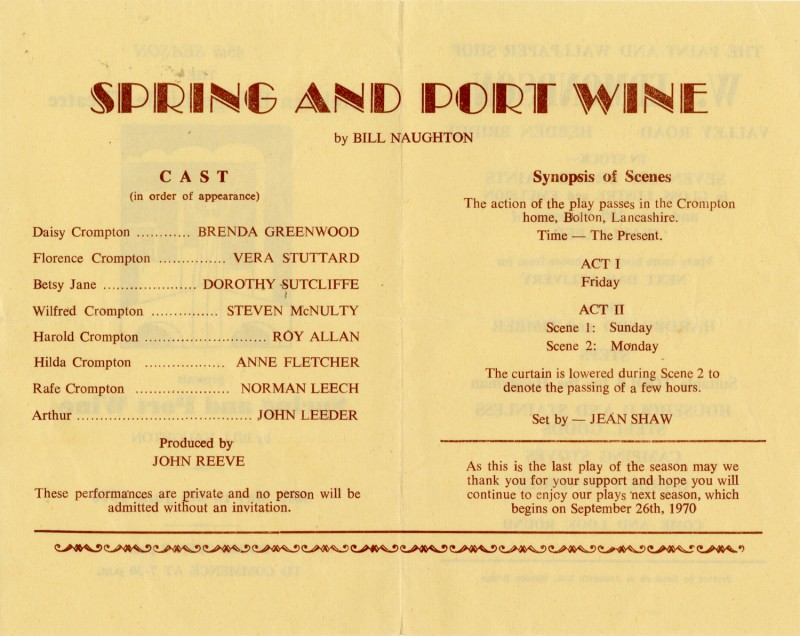Spring and Port Wine, 1970