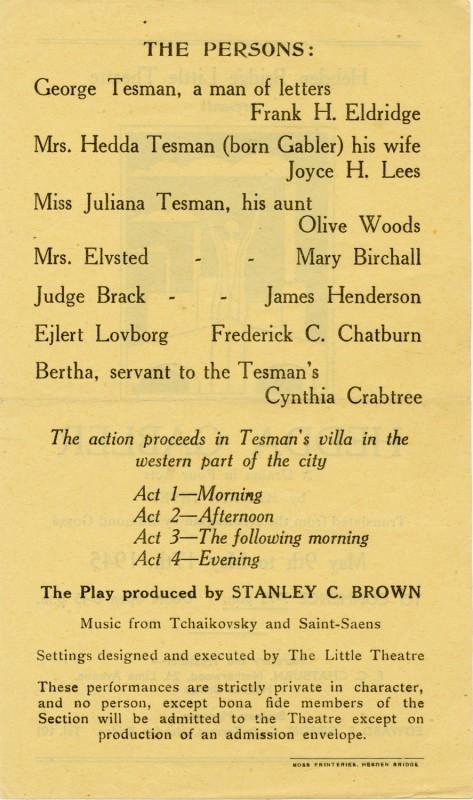 Programme for Hedda Gabler, 1945
