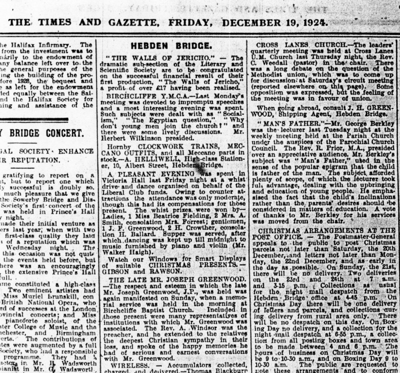 The Walls of Jericho, 1924, newspaper article