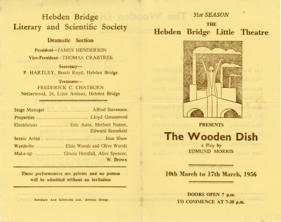 Programme for The Wooden Dish by Edmund Morris, 10-17 March 1956, directed by Lloyd Greenwood.