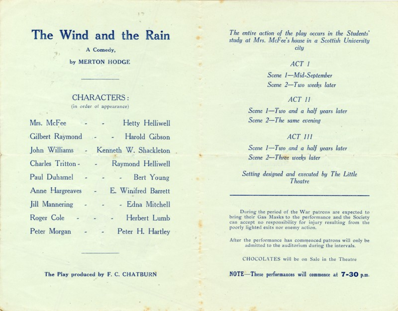The Wind and the Rain programme