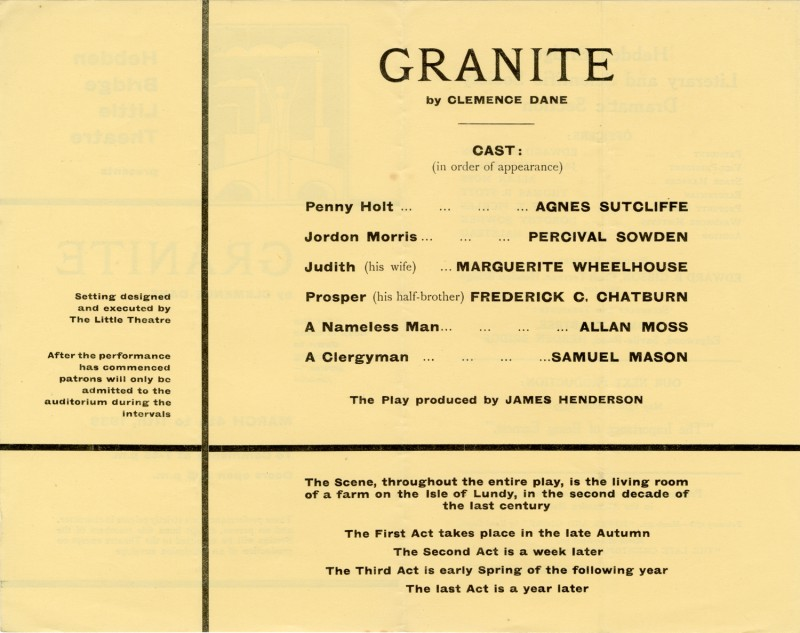 Granite, by Clemence Dane, directed by James Henderson, 1939