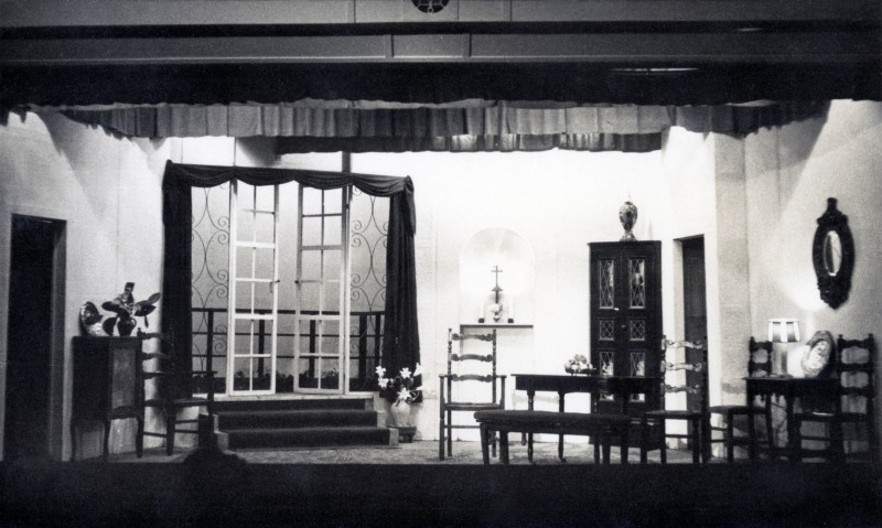 Set for The Arrow of Song, by T.B. Morris, produced by William C. Oakes, 21-29 January, 1955