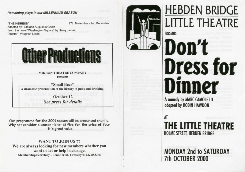 Don't Dress for Dinner, by Marc Camoletti, directed by Phil Webb, 2-7 October 2000