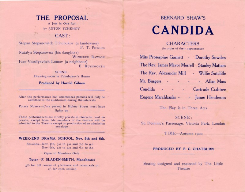 Candida, by G.B. Shaw, directed by F.C. Chatburn, 24 September-1 October 1938