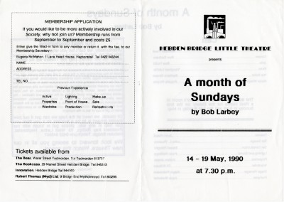 A Month of Sundays, by Bob Larbey, directed by Jacki Reed, 14-19 May, 1990 (the last production in the garage theatre), programme