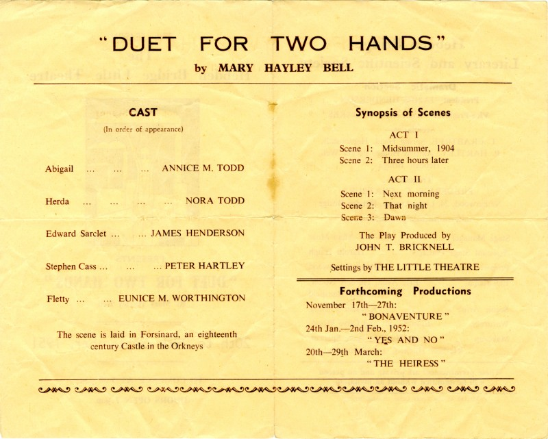 Duet for Two Hands, 1951