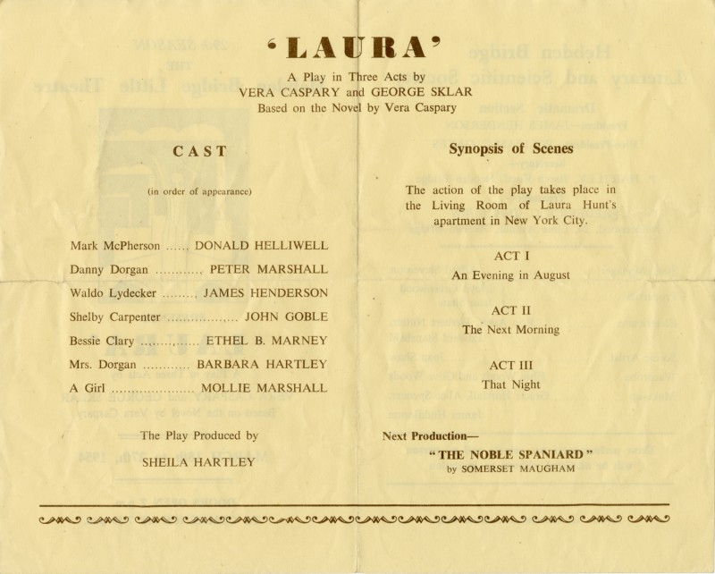 Programme for Laura, 1954