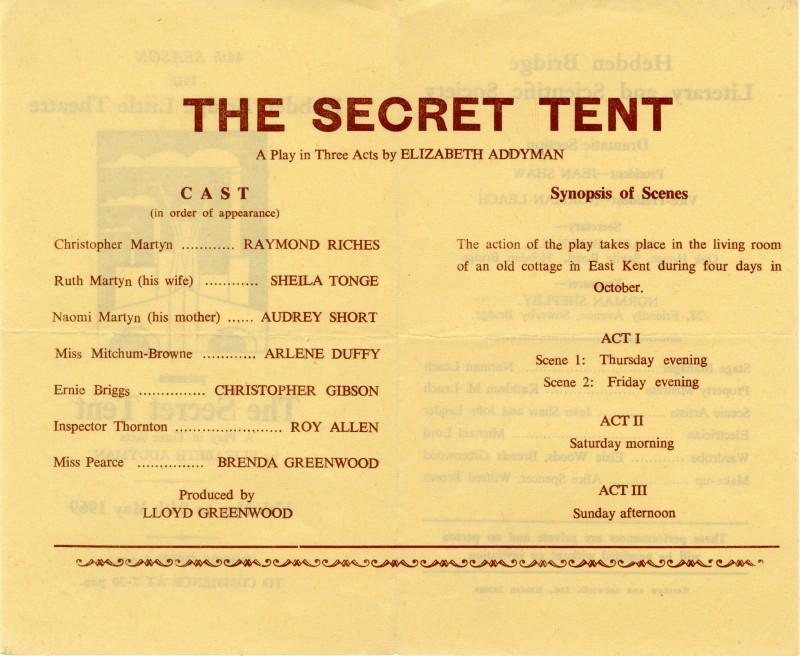 The Secret Tent, 1969
