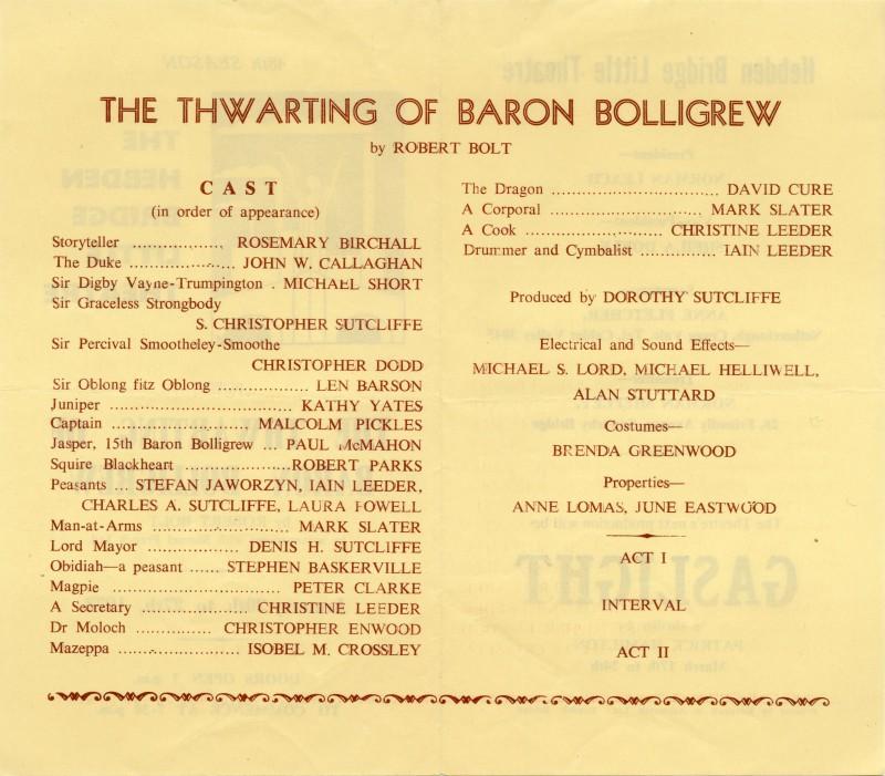 The Thwarting of Baron Bolligrew programme