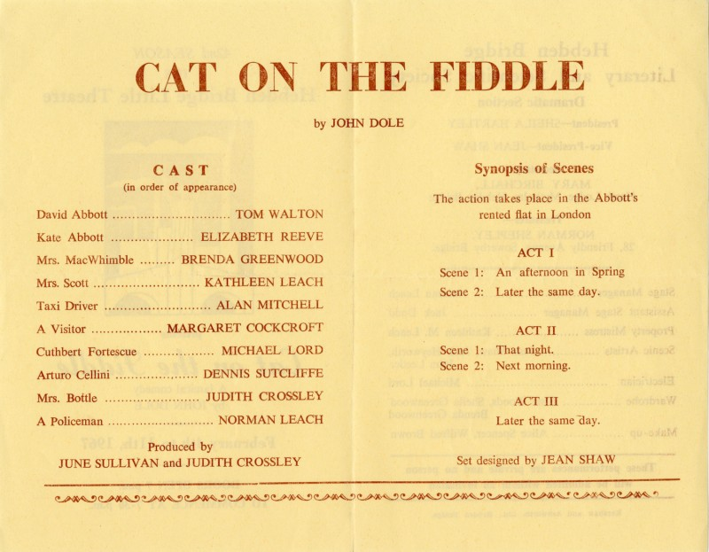 Cat on the Fiddle, 1967. Programme