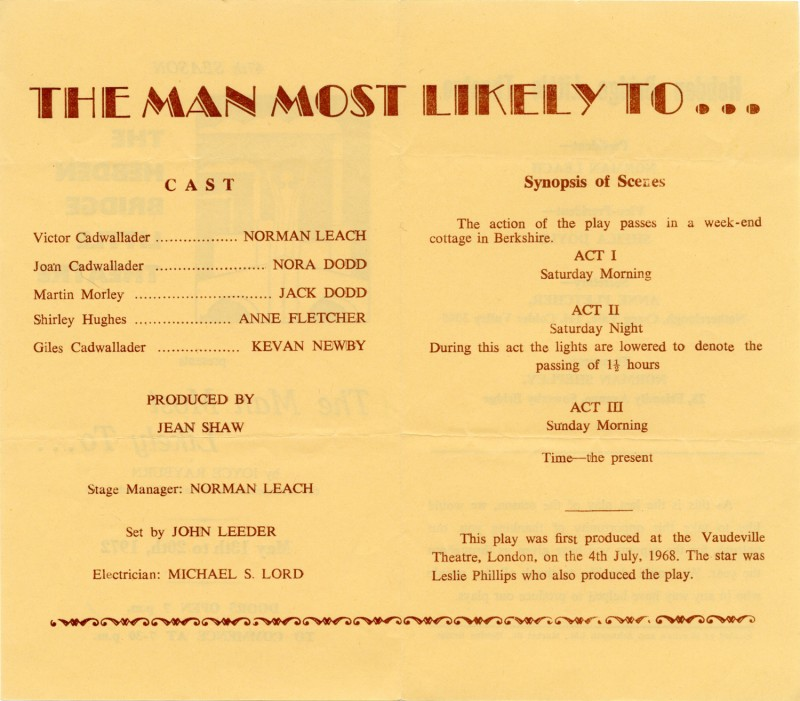 The Man Most Likely To, 1972