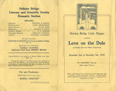 Programme for Love on the Dole, 1939