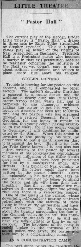 Pastor Hall, 1940 press article