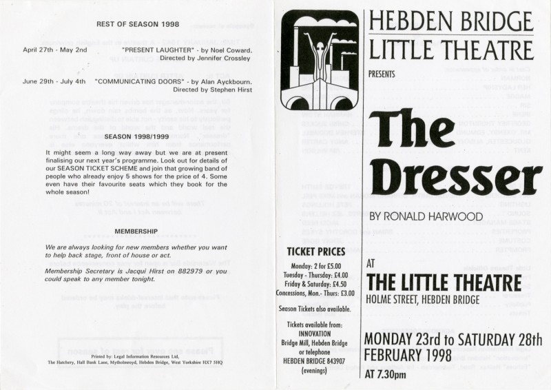 The Dresser, by Ronald Harwood, directed by Ray Riches, 23-28 February, 1998, programme