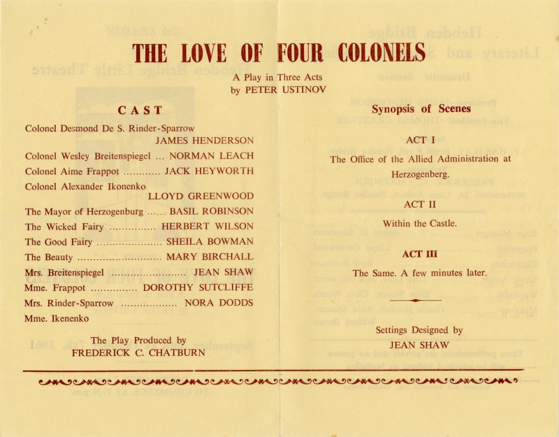The Love of Four Colonels, 1961