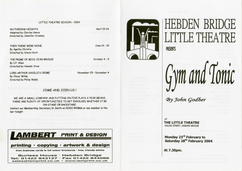 Gym and Tonic, 2004, programme