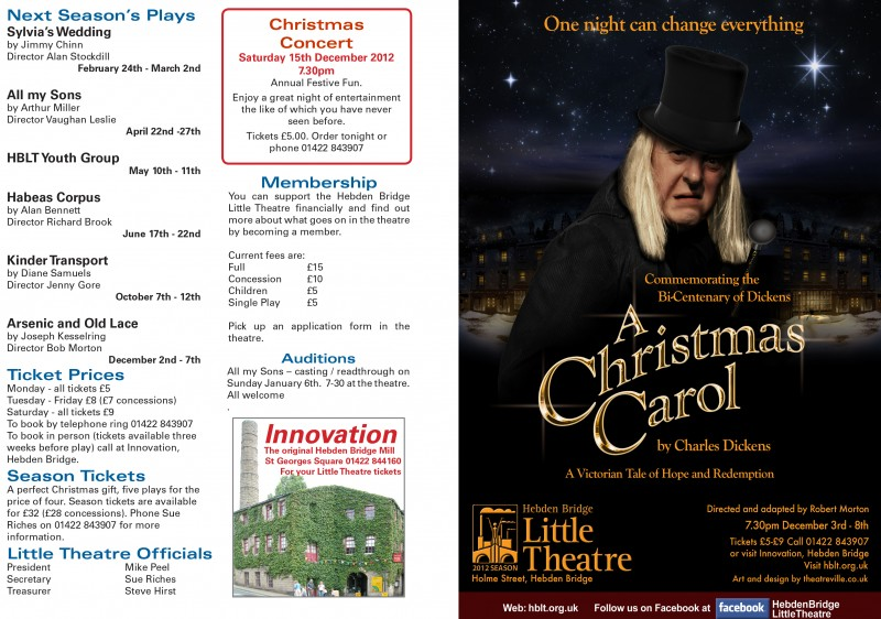 A Christmas Carol programme, outer page