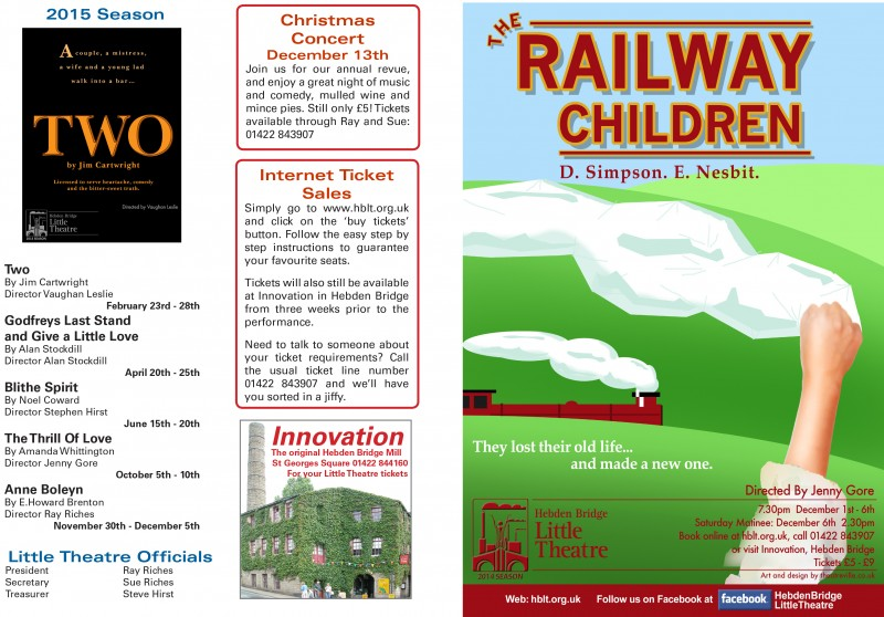 Front cover, The Railway Children programme, 2014